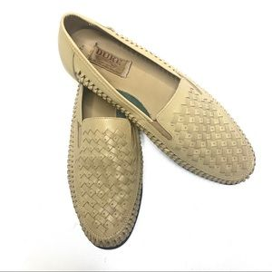 "Haband ""Duke"" mens tan basket weave slip on loafer"